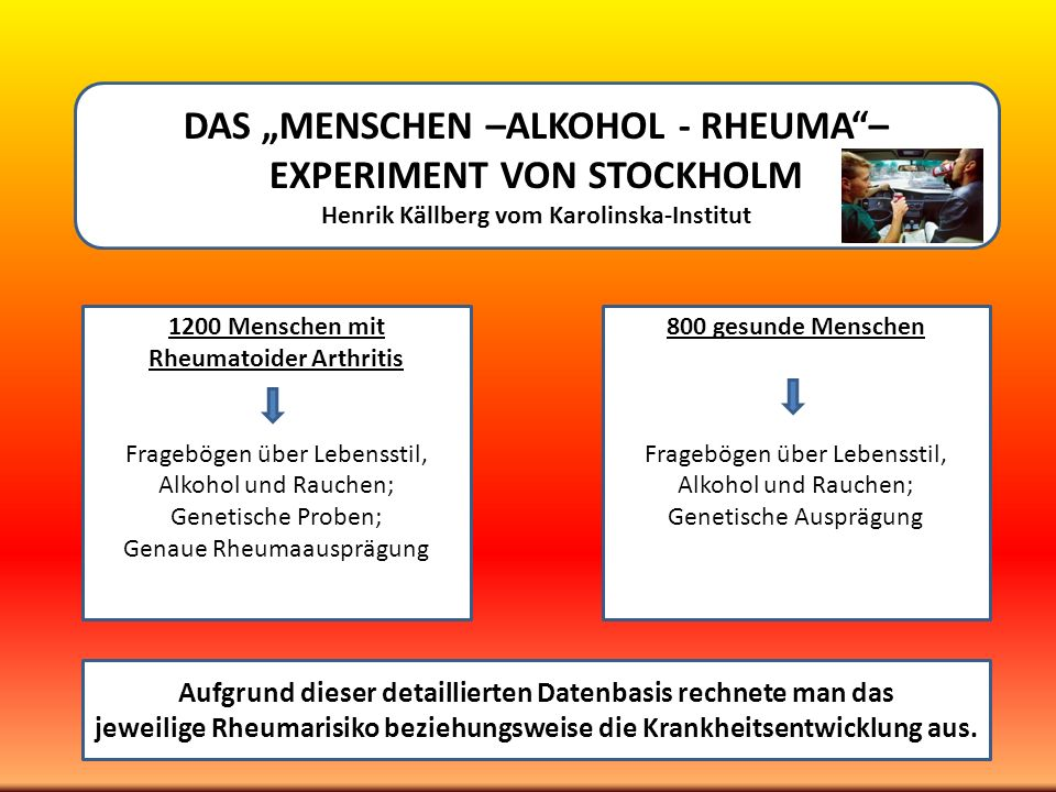 DAS MENSCHEN –ALKOHOL - RHEUMA– EXPERIMENT VON STOCKHOLM Henrik Källberg vom Karolinska-Institut 1200 Menschen mit Rheumatoider Arthritis Fragebögen ü