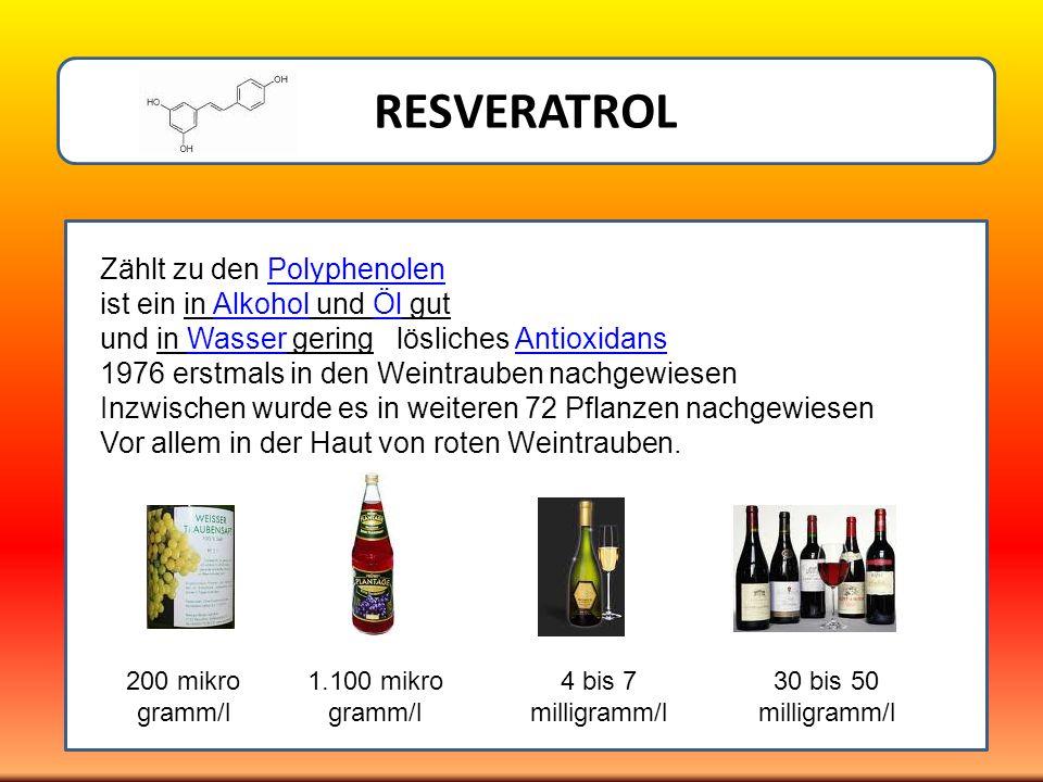 RESVERATROL Zählt zu den PolyphenolenPolyphenolen ist ein in Alkohol und Öl gutAlkoholÖl und in Wasser gering lösliches AntioxidansWasserAntioxidans 1