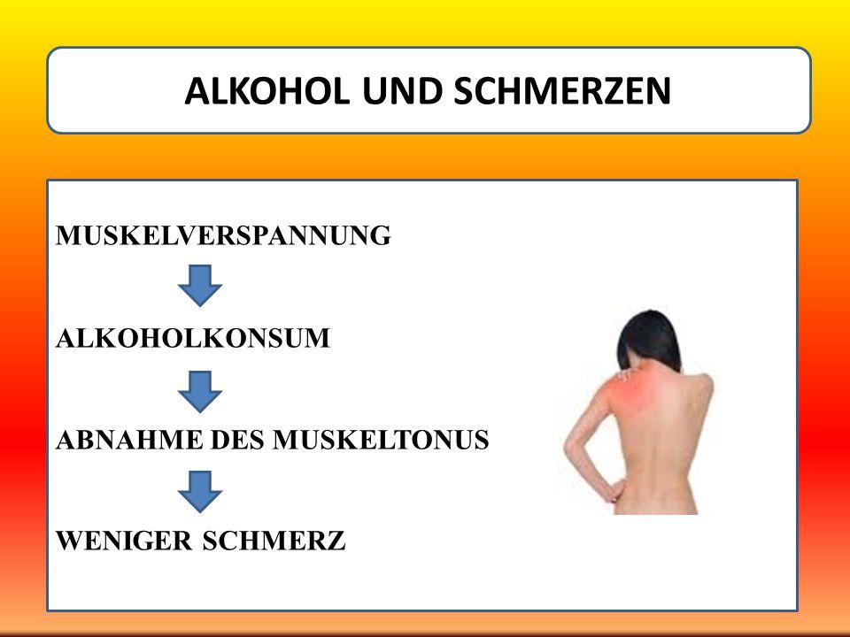 ALKOHOL UND SCHMERZEN MUSKELVERSPANNUNG ALKOHOLKONSUM ABNAHME DES MUSKELTONUS WENIGER SCHMERZ