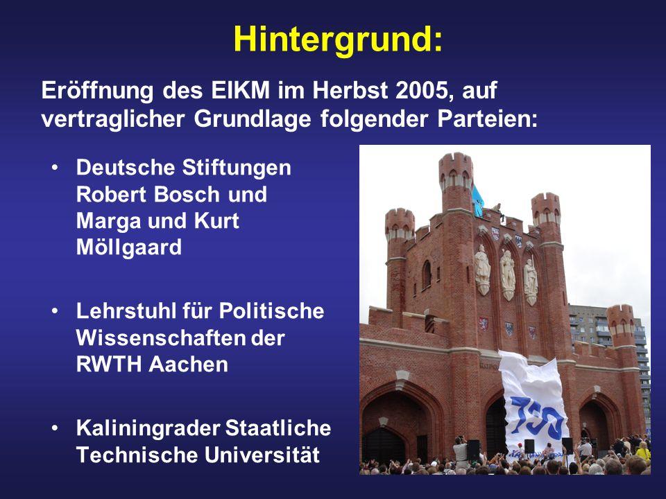 Hintergrund: Deutsche Stiftungen Robert Bosch und Marga und Kurt Möllgaard Lehrstuhl für Politische Wissenschaften der RWTH Aachen Kaliningrader Staat