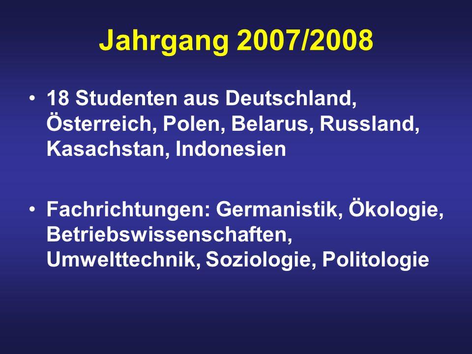 Jahrgang 2007/2008 18 Studenten aus Deutschland, Österreich, Polen, Belarus, Russland, Kasachstan, Indonesien Fachrichtungen: Germanistik, Ökologie, Betriebswissenschaften, Umwelttechnik, Soziologie, Politologie