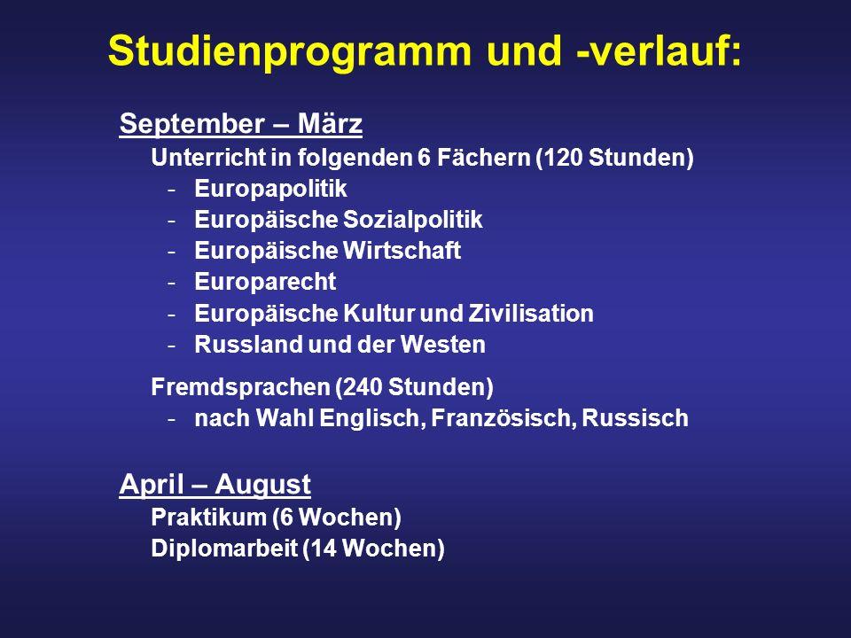 Studienprogramm und -verlauf: September – März Unterricht in folgenden 6 Fächern (120 Stunden) -Europapolitik -Europäische Sozialpolitik -Europäische