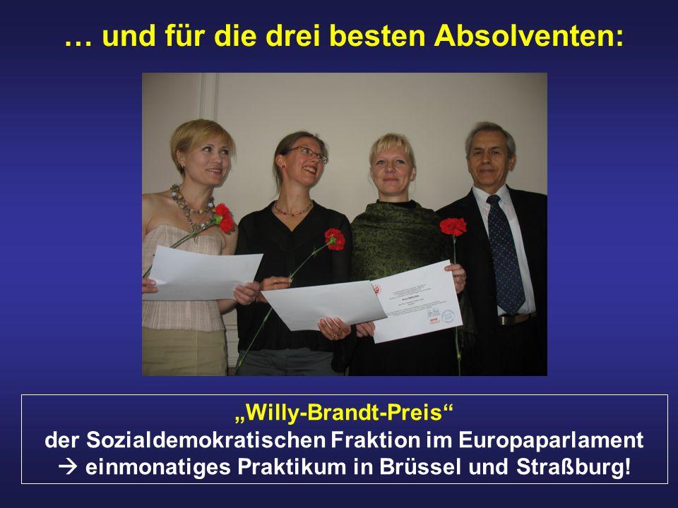 … und für die drei besten Absolventen: Willy-Brandt-Preis der Sozialdemokratischen Fraktion im Europaparlament einmonatiges Praktikum in Brüssel und S