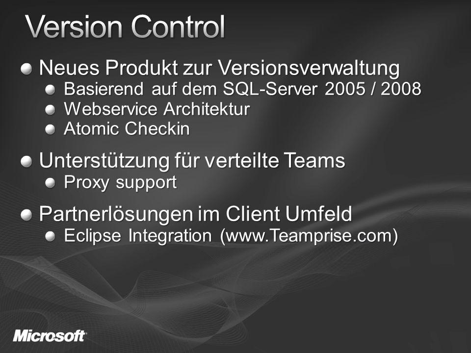 Neues Produkt zur Versionsverwaltung Basierend auf dem SQL-Server 2005 / 2008 Webservice Architektur Atomic Checkin Unterstützung für verteilte Teams Proxy support Partnerlösungen im Client Umfeld Eclipse Integration (www.Teamprise.com)