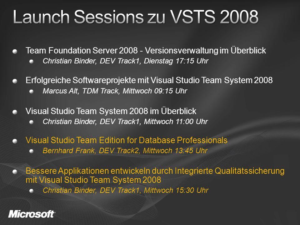 Team Foundation Server 2008 - Versionsverwaltung im Überblick Christian Binder, DEV Track1, Dienstag 17:15 Uhr Erfolgreiche Softwareprojekte mit Visu