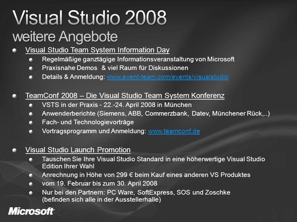 Visual Studio Team System Information Day Regelmäßige ganztägige Informationsveranstaltung von Microsoft Praxisnahe Demos & viel Raum für Diskussionen Details & Anmeldung: www.event-team.com/events/visualstudiowww.event-team.com/events/visualstudio TeamConf 2008 – Die Visual Studio Team System Konferenz VSTS in der Praxis - 22.-24.