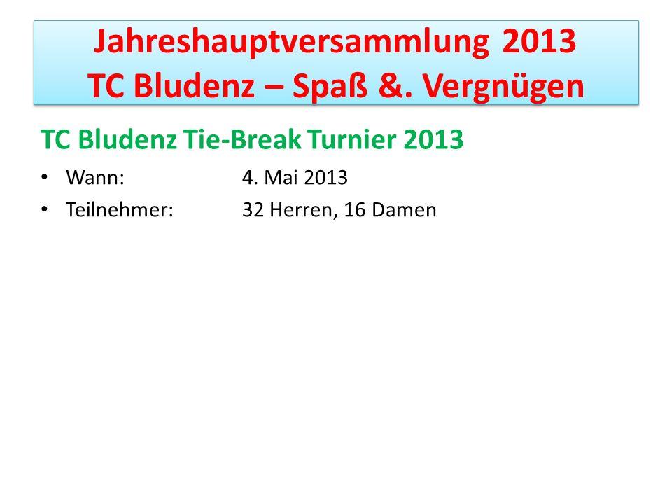 Jahreshauptversammlung 2013 TC Bludenz – Spaß &. Vergnügen TC Bludenz Tie-Break Turnier 2013 Wann: 4. Mai 2013 Teilnehmer: 32 Herren, 16 Damen