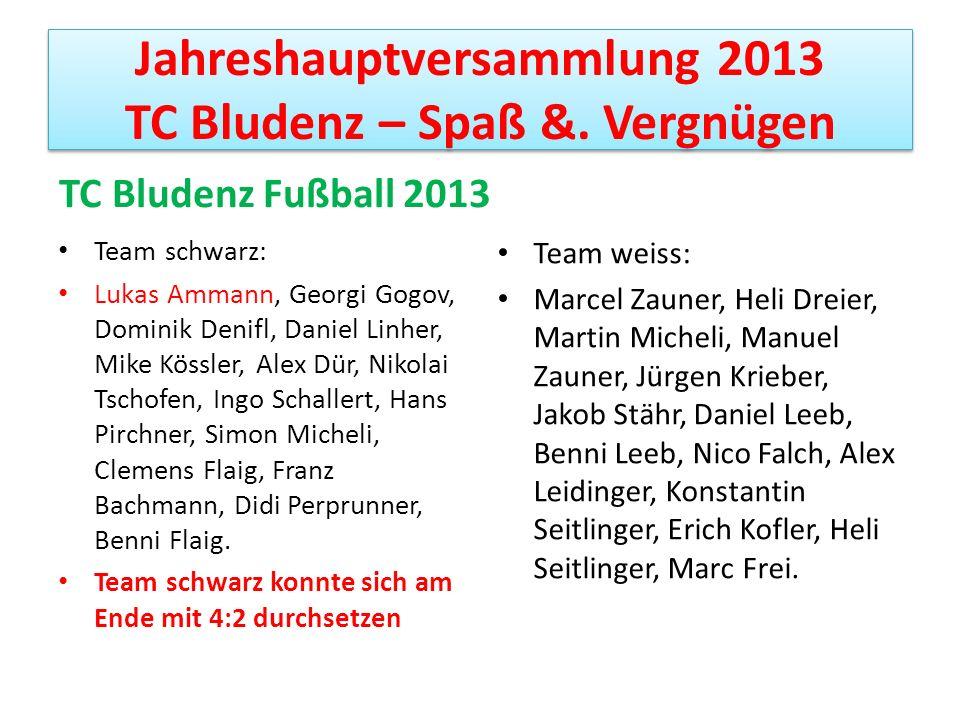 Jahreshauptversammlung 2013 TC Bludenz – Spaß &. Vergnügen TC Bludenz Fußball 2013 Team schwarz: Lukas Ammann, Georgi Gogov, Dominik Denifl, Daniel Li