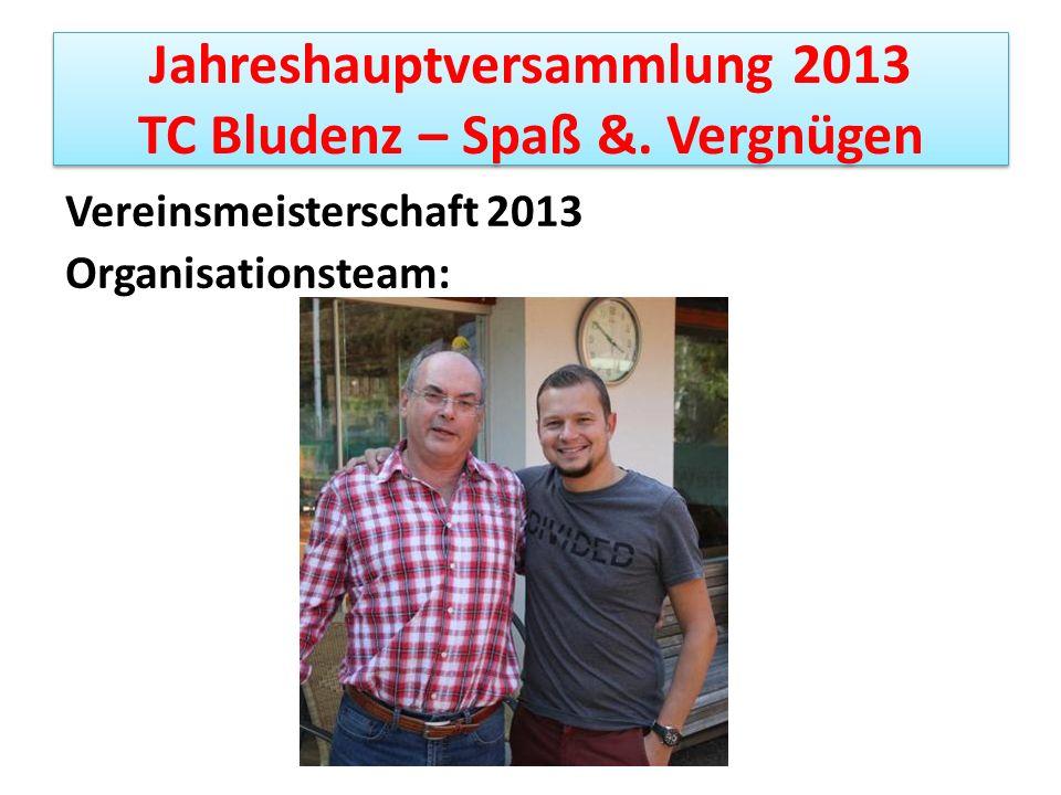 Jahreshauptversammlung 2013 TC Bludenz – Spaß &. Vergnügen Vereinsmeisterschaft 2013 Organisationsteam:
