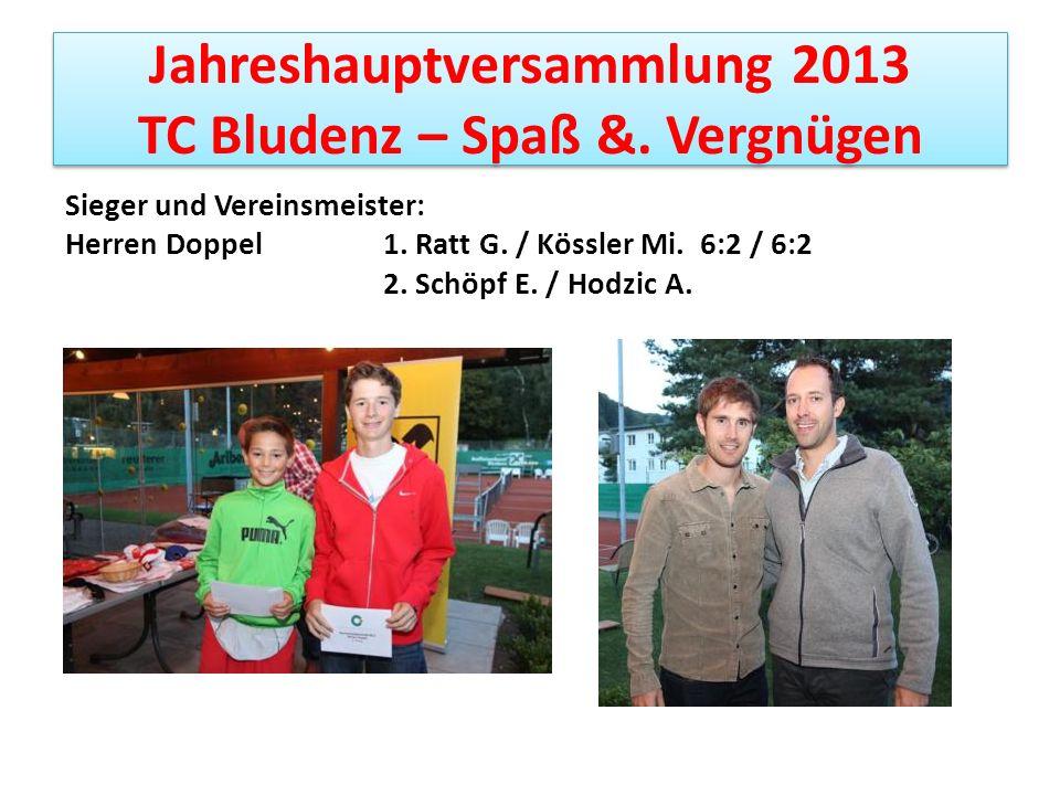 Jahreshauptversammlung 2013 TC Bludenz – Spaß &. Vergnügen Sieger und Vereinsmeister: Herren Doppel 1. Ratt G. / Kössler Mi. 6:2 / 6:2 2. Schöpf E. /