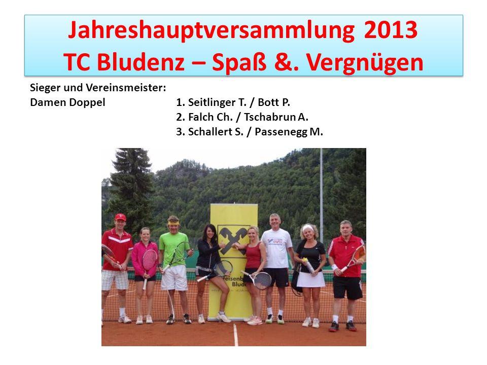 Jahreshauptversammlung 2013 TC Bludenz – Spaß &. Vergnügen Sieger und Vereinsmeister: Damen Doppel 1. Seitlinger T. / Bott P. 2. Falch Ch. / Tschabrun