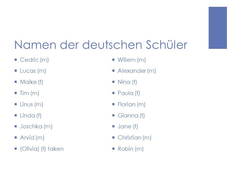 Namen der deutschen Schüler Cedric (m) Lucas (m) Maike (f) Tim (m) Linus (m) Linda (f) Joschka (m) Arvid (m) (Olivia) (f) taken Willem (m) Alexander (m) Nina (f) Paula (f) Florian (m) Gianna (f) Jane (f) Christian (m) Robin (m)