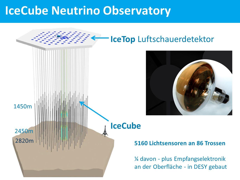 IceCube Neutrino Observatory IceTop Luftschauerdetektor IceCube 5160 Lichtsensoren an 86 Trossen ¼ davon - plus Empfangselektronik an der Oberfläche - in DESY gebaut 1450m 2450m 2820m