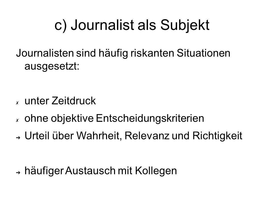 d) Journalist als Profession Journalisten wollen sich für ihre Werte im Beruf einsetzten Verwirklichung von persönlichen Einstellungen und Werten in Deutschland: wenig Kontrollen durch die Redaktionen häufig manipulative Präsentationsmerkmale (Ursache: Interpretationsgier)