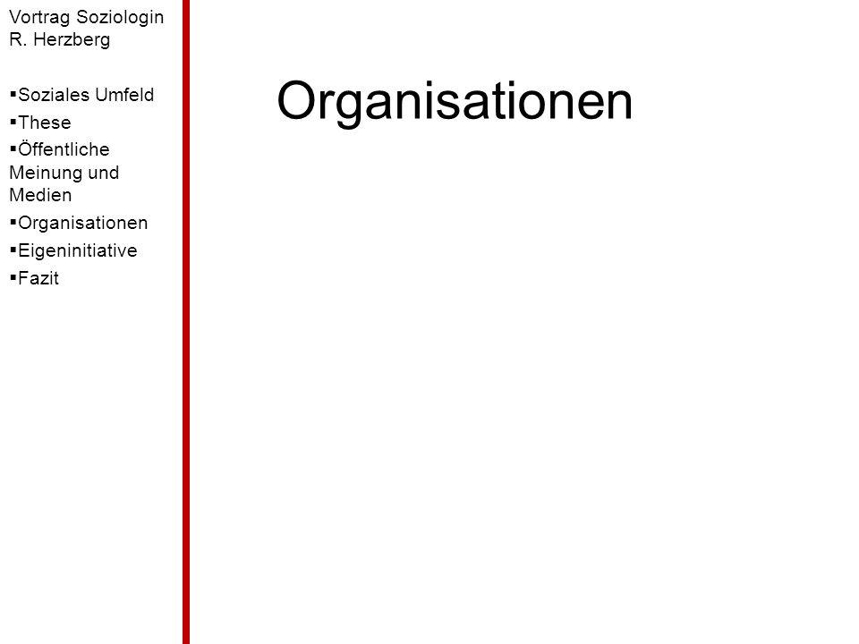 Organisationen Vortrag Soziologin R. Herzberg Soziales Umfeld These Öffentliche Meinung und Medien Organisationen Eigeninitiative Fazit