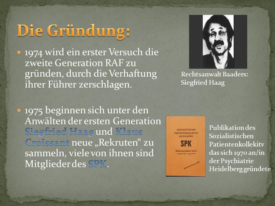 Rechtsanwalt Baaders: Siegfried Haag Publikation des Sozialistischen Patientenkollekitv das sich 1970 an/in der Psychiatrie Heidelberg gründete