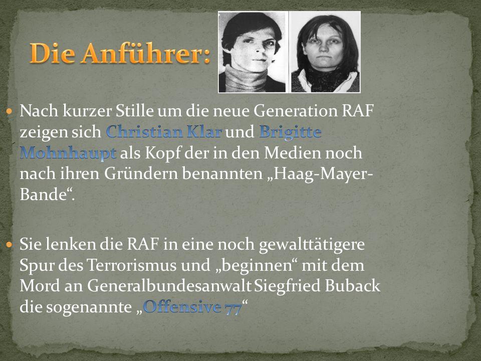 Attentat an Siegfried Buback (7.April 1977) und Jürgen Ponto (30.