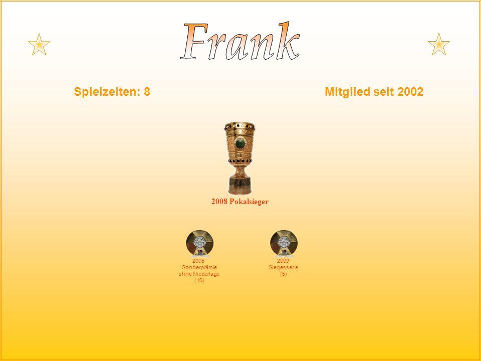 2008 Pokalsieger 2005 Sonderprämie ohne Niederlage (10) Spielzeiten: 8Mitglied seit 2002 2009 Siegesserie (5)