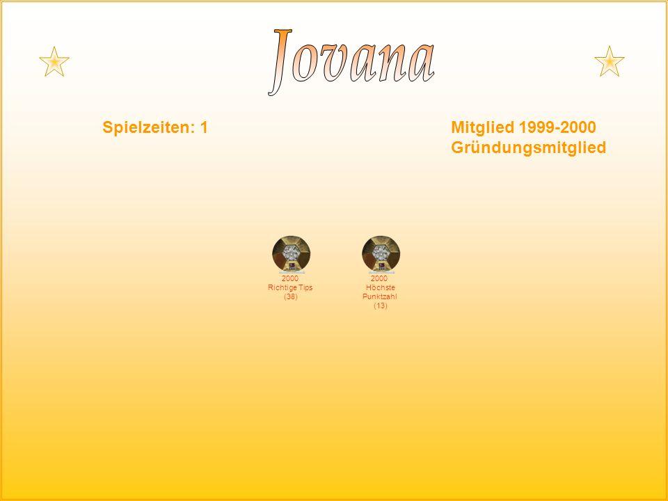 Spielzeiten: 1Mitglied 1999-2000 Gründungsmitglied 2000 Richtige Tips (38) 2000 Höchste Punktzahl (13)
