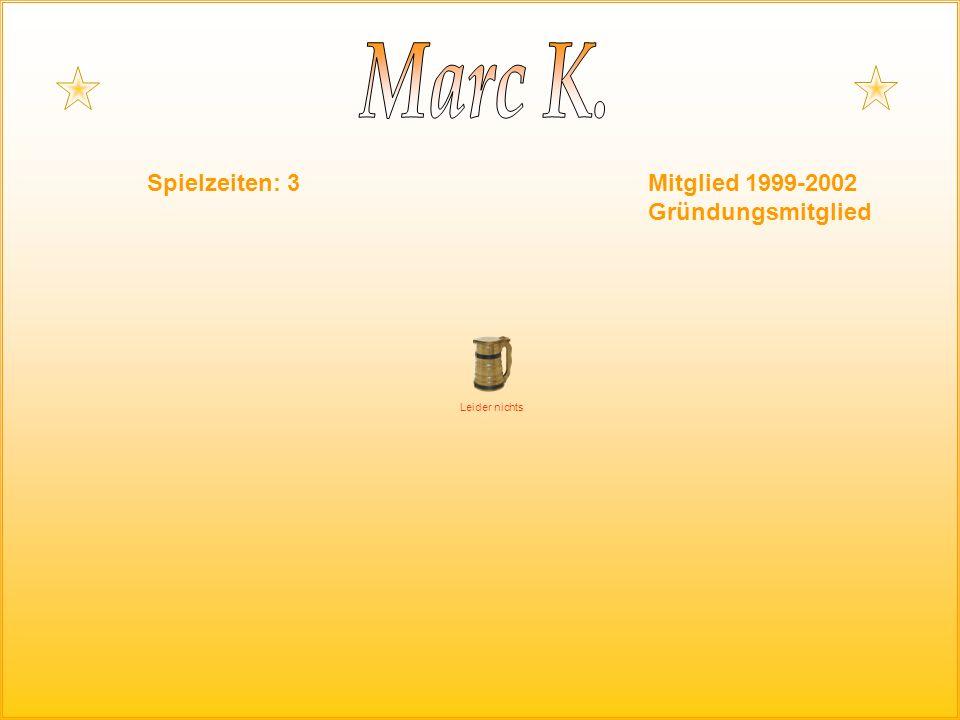 Spielzeiten: 3Mitglied 1999-2002 Gründungsmitglied Leider nichts