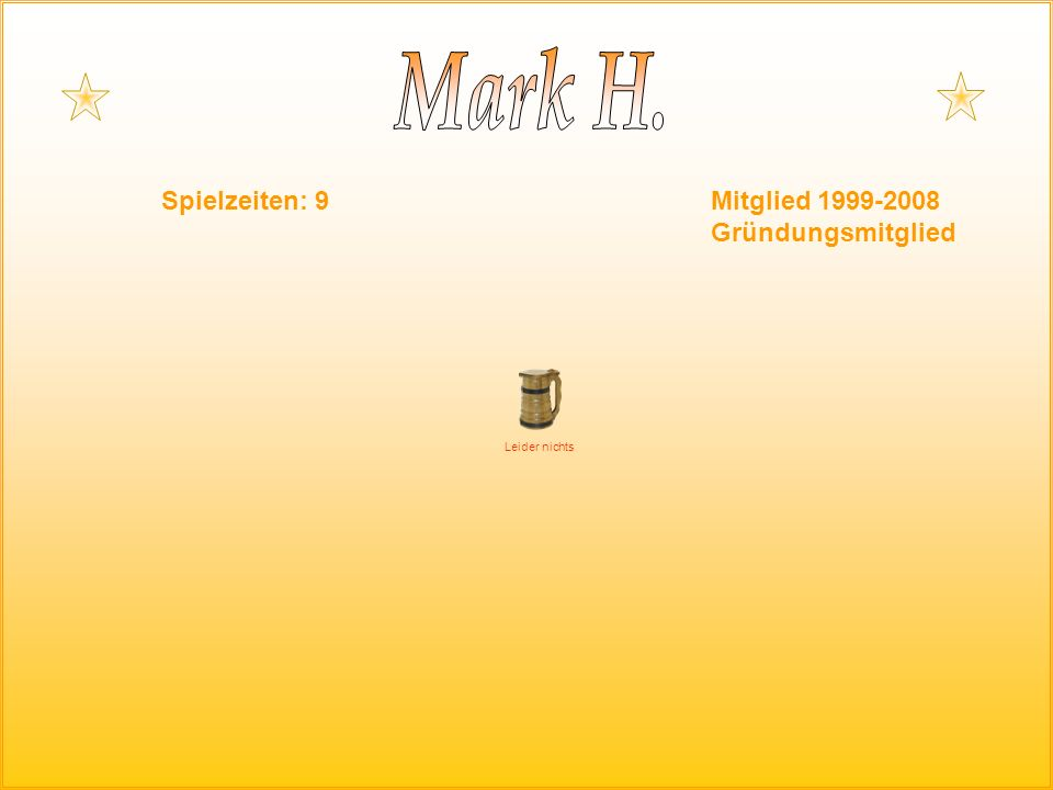 Spielzeiten: 9Mitglied 1999-2008 Gründungsmitglied Leider nichts