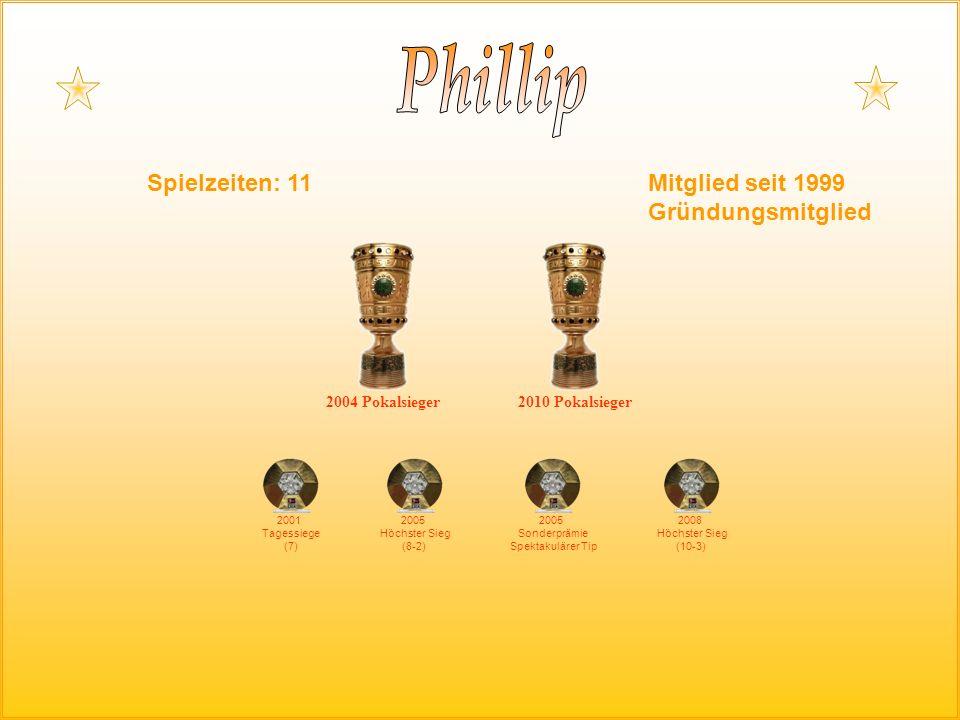 Spielzeiten: 11Mitglied seit 1999 Gründungsmitglied 2004 Pokalsieger 2001 Tagessiege (7) 2005 Höchster Sieg (8-2) 2005 Sonderprämie Spektakulärer Tip 2008 Höchster Sieg (10-3) 2010 Pokalsieger