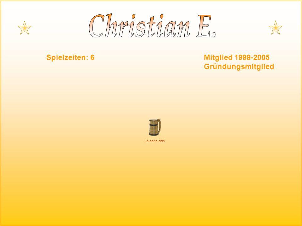 Spielzeiten: 6Mitglied 1999-2005 Gründungsmitglied Leider nichts