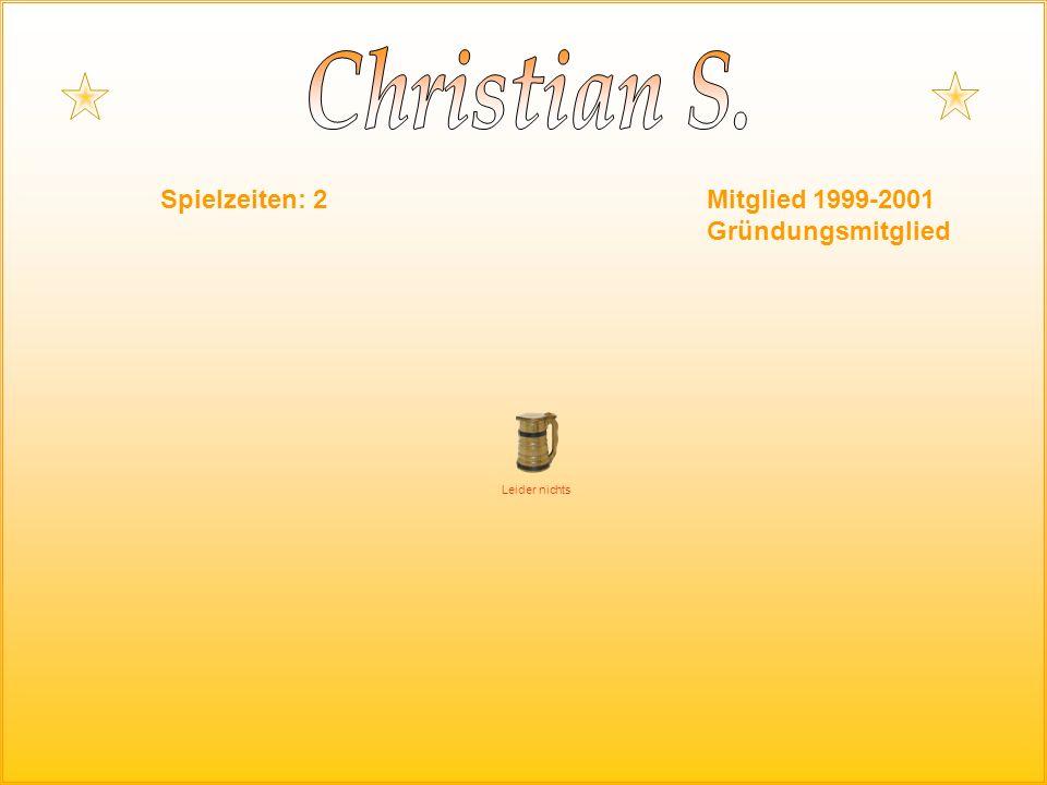 Spielzeiten: 2Mitglied 1999-2001 Gründungsmitglied Leider nichts