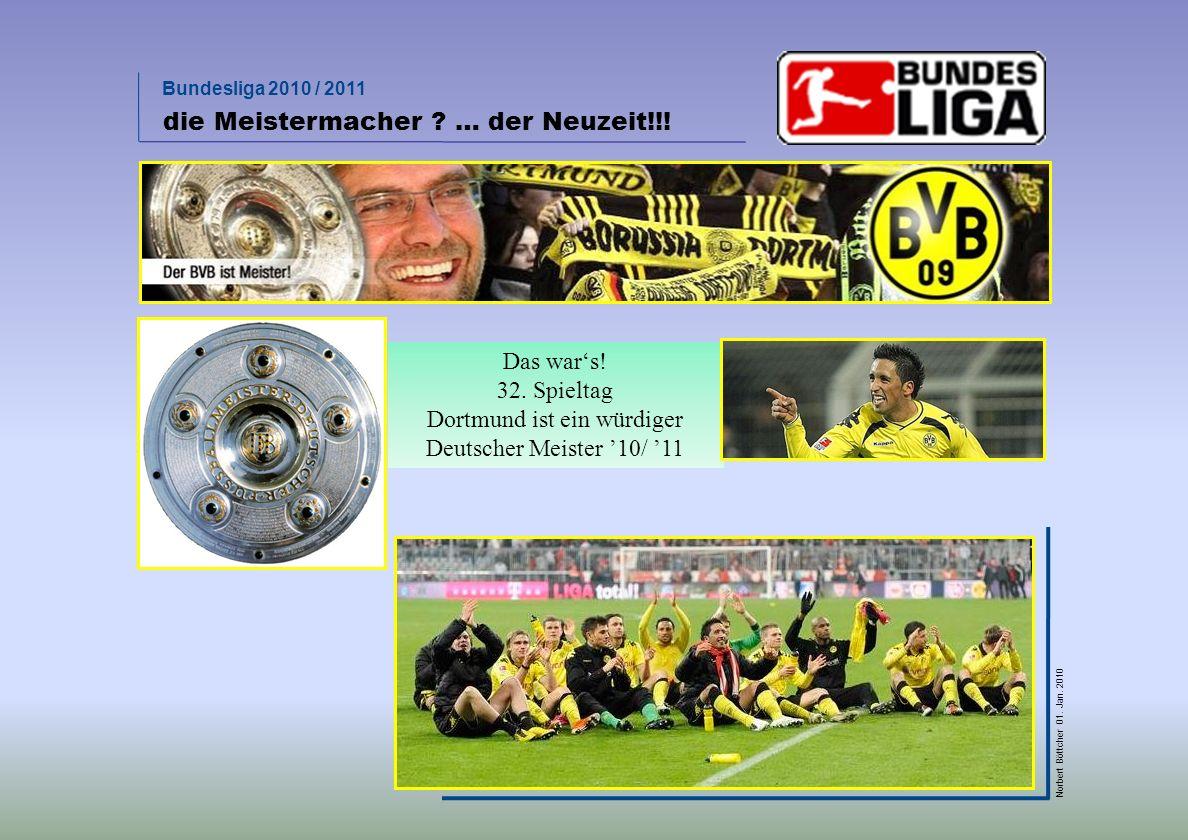 Bundesliga 2010 / 2011 Norbert Böttcher 01. Jan. 2010 Ergebnisanalyse   beeindruckende Siegesserie