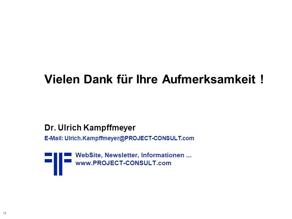 12 Vielen Dank für Ihre Aufmerksamkeit ! Dr. Ulrich Kampffmeyer E-Mail: Ulrich.Kampffmeyer@PROJECT-CONSULT.com WebSite, Newsletter, Informationen... w