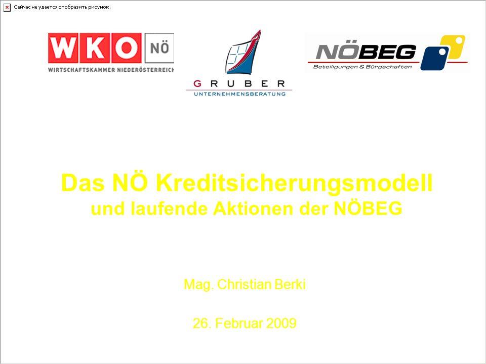 Das NÖ Kreditsicherungsmodell und laufende Aktionen der NÖBEG Mag. Christian Berki 26. Februar 2009