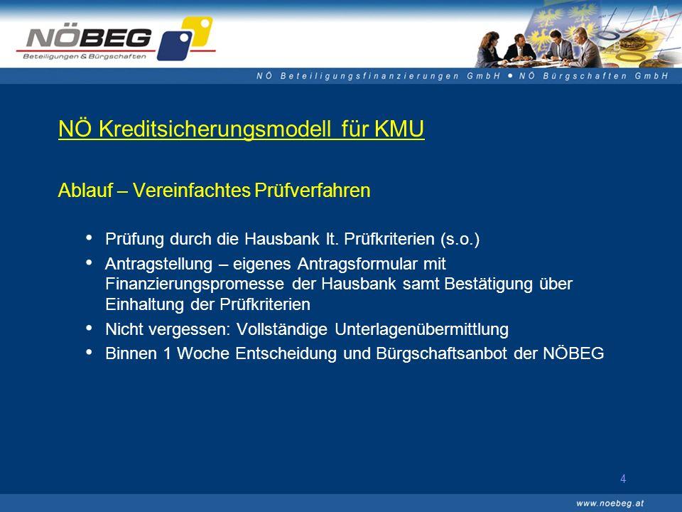 4 NÖ Kreditsicherungsmodell für KMU Ablauf – Vereinfachtes Prüfverfahren Prüfung durch die Hausbank lt.
