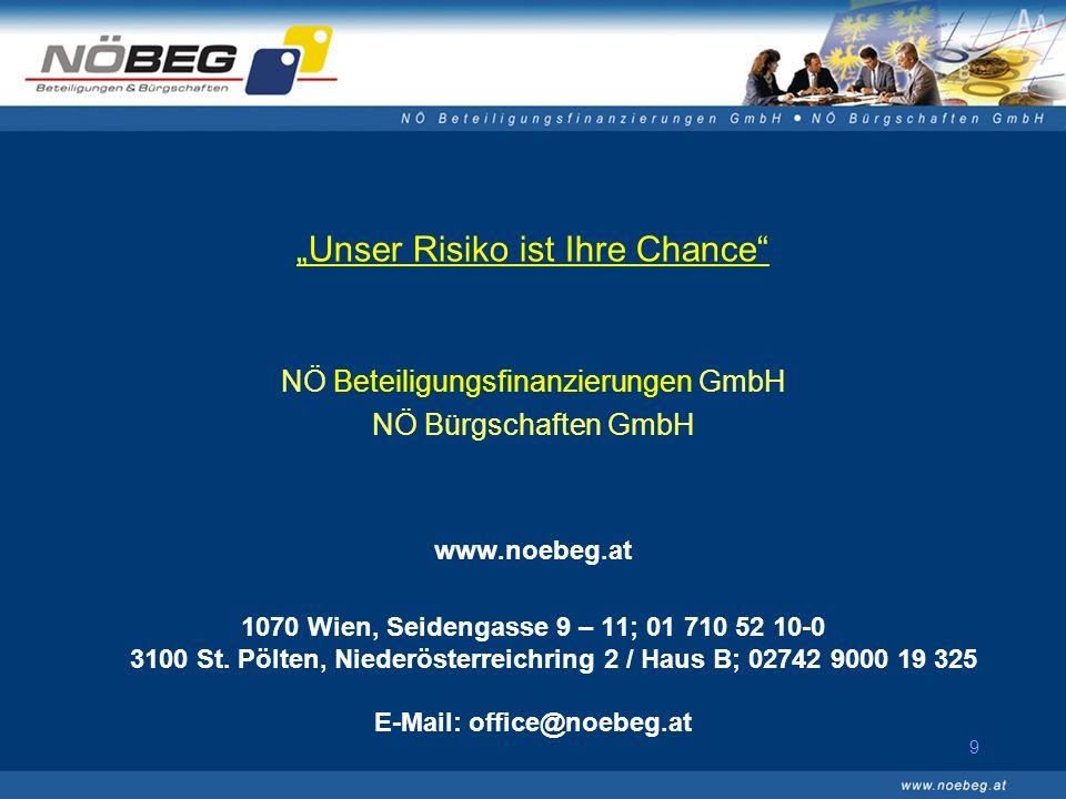 9 Unser Risiko ist Ihre Chance NÖ Beteiligungsfinanzierungen GmbH NÖ Bürgschaften GmbH www.noebeg.at 1070 Wien, Seidengasse 9 – 11; 01 710 52 10-0 3100 St.
