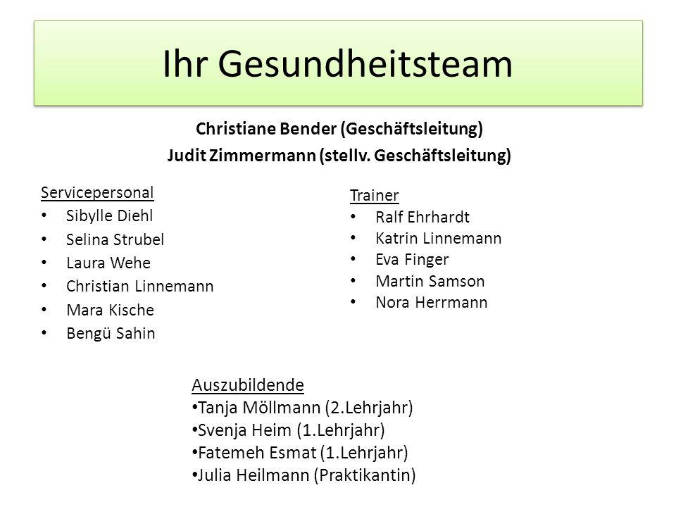 Ihr Gesundheitsteam Christiane Bender (Geschäftsleitung) Judit Zimmermann (stellv. Geschäftsleitung) Servicepersonal Sibylle Diehl Selina Strubel Laur