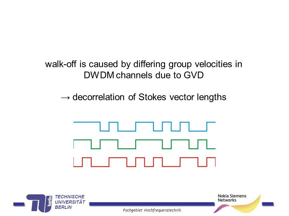 TECHNISCHE UNIVERSITÄT BERLIN Fachgebiet Hochfrequenztechnik walk-off is caused by differing group velocities in DWDM channels due to GVD decorrelation of Stokes vector lengths