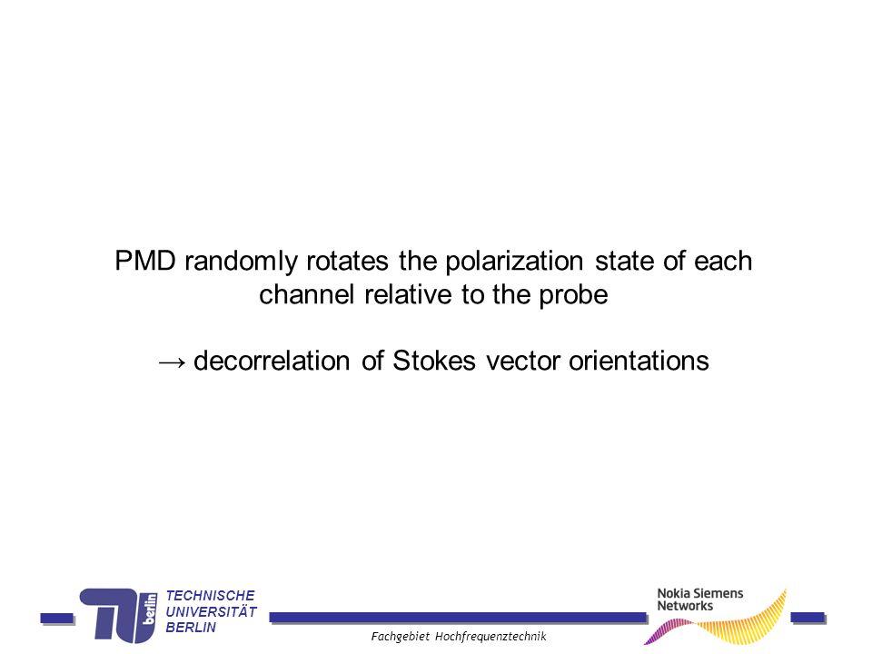 TECHNISCHE UNIVERSITÄT BERLIN Fachgebiet Hochfrequenztechnik PMD randomly rotates the polarization state of each channel relative to the probe decorrelation of Stokes vector orientations