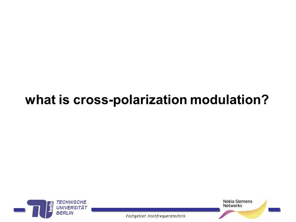 TECHNISCHE UNIVERSITÄT BERLIN Fachgebiet Hochfrequenztechnik what is cross-polarization modulation?