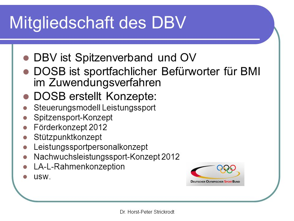 Dr. Horst-Peter Strickrodt Struktur DOSB -Geschäftsbereiche-