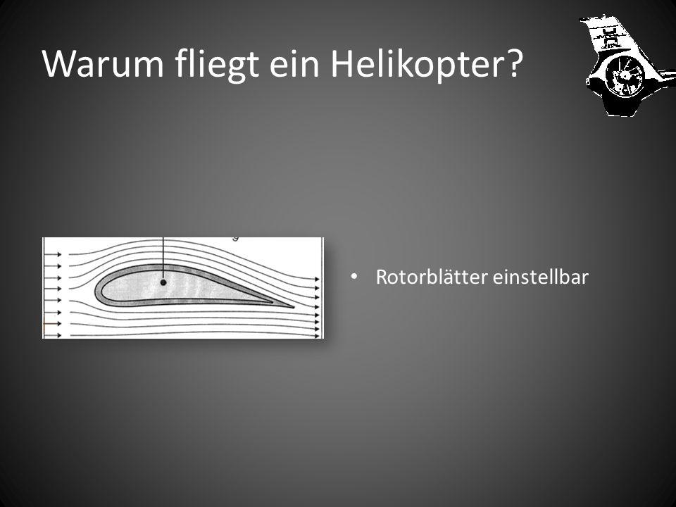 Warum fliegt ein Helikopter? Luftstrom geteilt Rotorblatt gewölbt Zeitgleich Hoher Druck unten Tiefer Druck oben