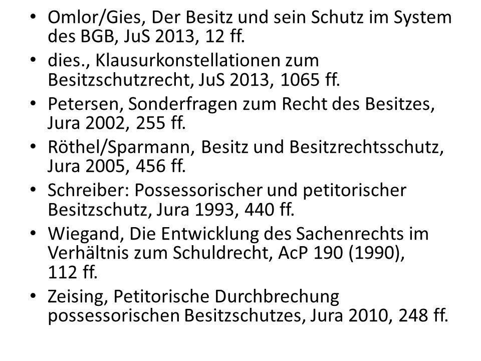 Omlor/Gies, Der Besitz und sein Schutz im System des BGB, JuS 2013, 12 ff.