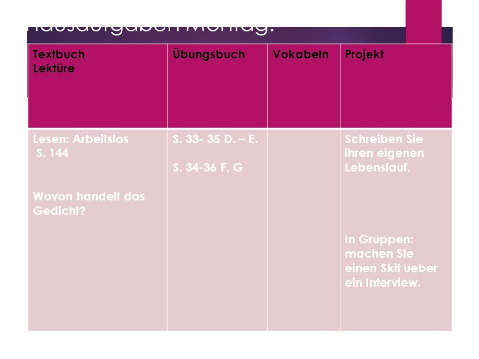 Hausaufgaben Montag: Textbuch Lektüre ÜbungsbuchVokabelnProjekt Lesen: Arbeitslos S. 144 Wovon handelt das Gedicht? S. 33- 35 D. – E. S. 34-36 F, G Sc