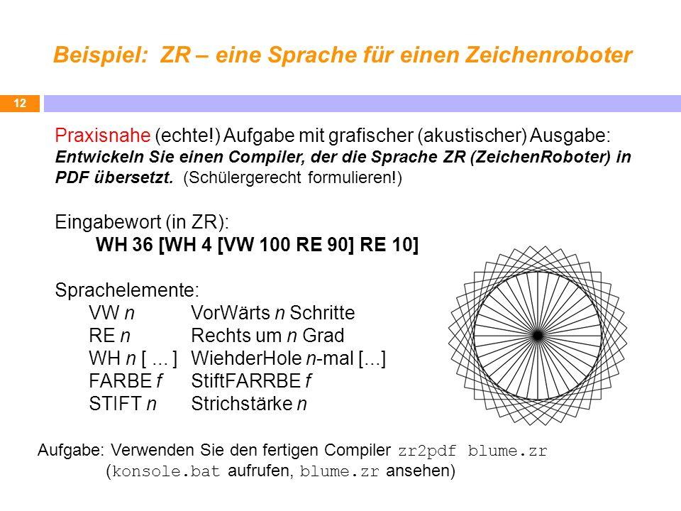 Beispiel: ZR – eine Sprache für einen Zeichenroboter 12 Praxisnahe (echte!) Aufgabe mit grafischer (akustischer) Ausgabe: Entwickeln Sie einen Compile