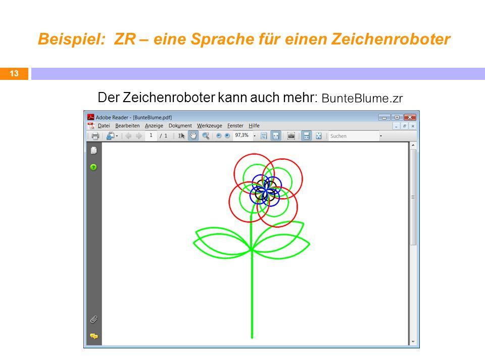 Beispiel: ZR – eine Sprache für einen Zeichenroboter 13 Der Zeichenroboter kann auch mehr: BunteBlume.zr