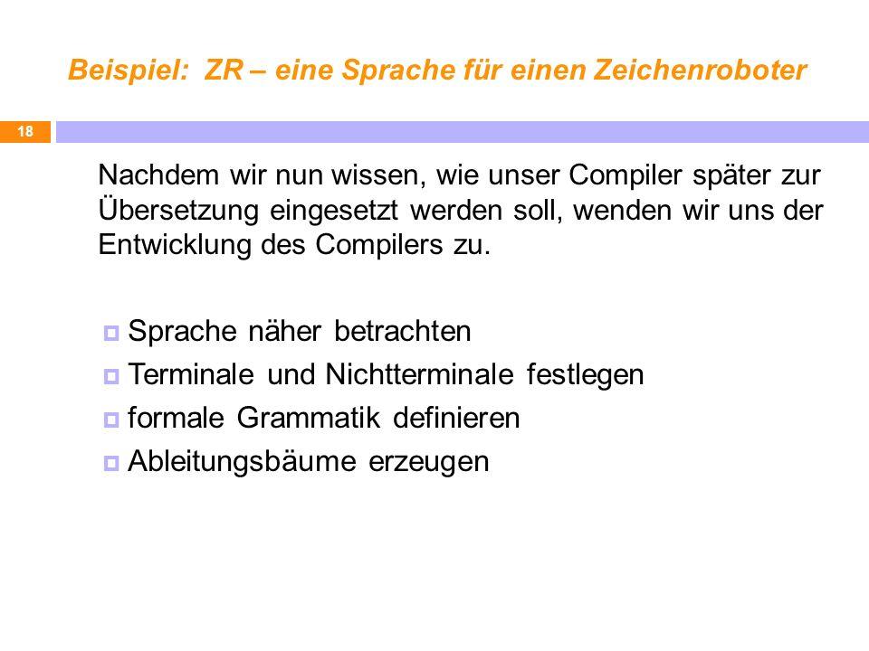 Beispiel: ZR – eine Sprache für einen Zeichenroboter Nachdem wir nun wissen, wie unser Compiler später zur Übersetzung eingesetzt werden soll, wenden
