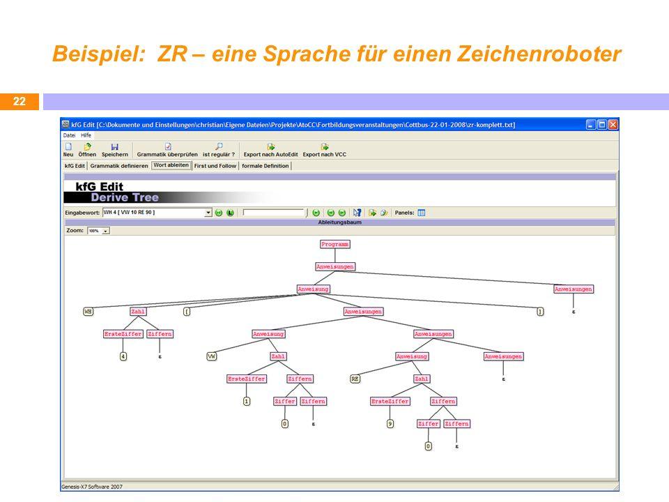 Beispiel: ZR – eine Sprache für einen Zeichenroboter 22