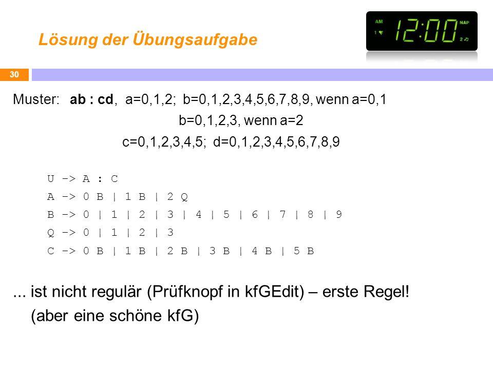 Lösung der Übungsaufgabe Muster: ab : cd, a=0,1,2; b=0,1,2,3,4,5,6,7,8,9, wenn a=0,1 b=0,1,2,3, wenn a=2 c=0,1,2,3,4,5; d=0,1,2,3,4,5,6,7,8,9 U -> A :