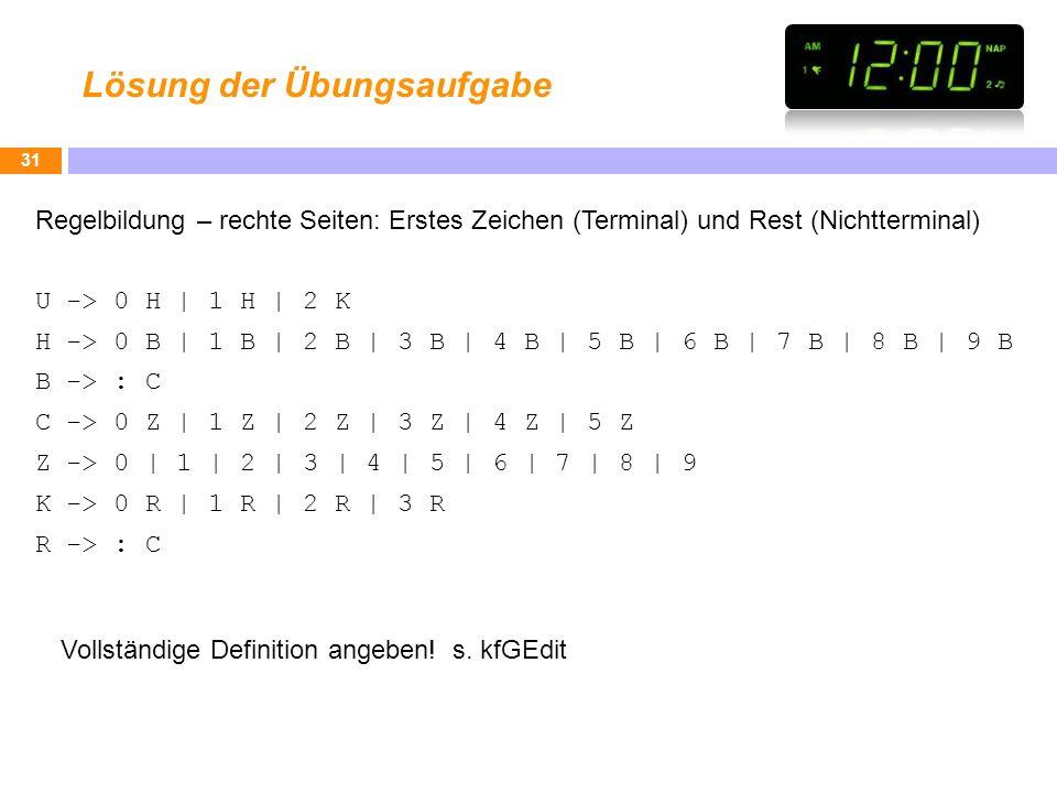 Lösung der Übungsaufgabe Regelbildung – rechte Seiten: Erstes Zeichen (Terminal) und Rest (Nichtterminal) U -> 0 H | 1 H | 2 K H -> 0 B | 1 B | 2 B |