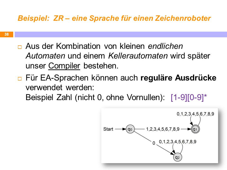 Beispiel: ZR – eine Sprache für einen Zeichenroboter Aus der Kombination von kleinen endlichen Automaten und einem Kellerautomaten wird später unser C