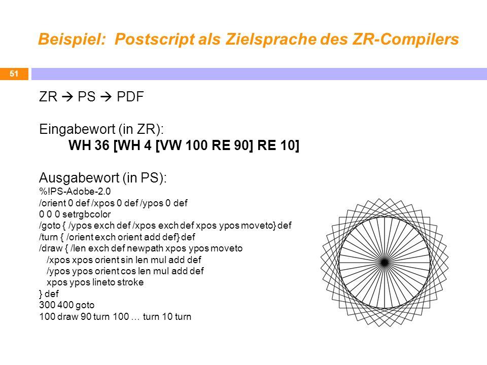 Beispiel: Postscript als Zielsprache des ZR-Compilers 51 ZR PS PDF Eingabewort (in ZR): WH 36 [WH 4 [VW 100 RE 90] RE 10] Ausgabewort (in PS): %!PS-Ad