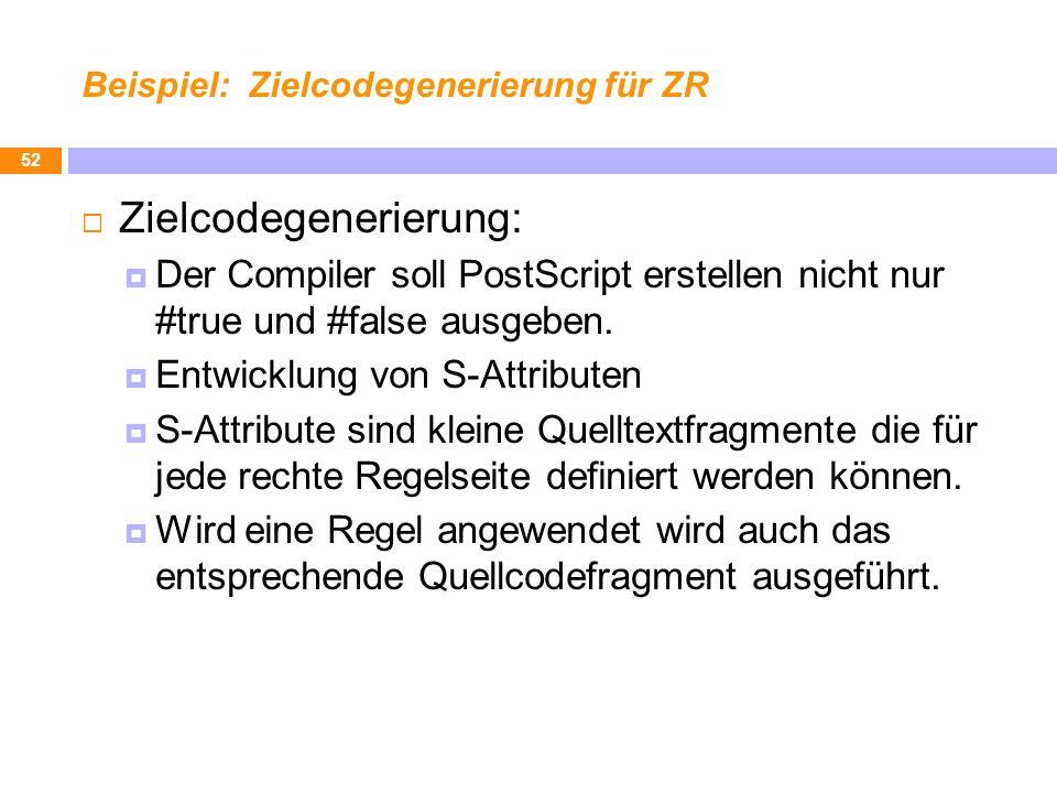 Beispiel: Zielcodegenerierung für ZR Zielcodegenerierung: Der Compiler soll PostScript erstellen nicht nur #true und #false ausgeben. Entwicklung von